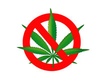 Ban on hemp on a white background Royalty Free Stock Photography