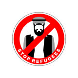 Ban immigrants. Stop refugee. Red Forbidding character. Syrian M. An in national costume crossed out red stripe. Vector sign stock illustration