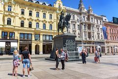 Ban Josip Jelacic monument in the central square in Zagreb, Croatia. ZAGREB, CROATIA - JULY 17, 2017: Ban Josip Jelacic monument in the central square in Zagreb stock image