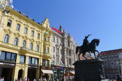 Ban Josip Jelecic square. Main city square in Zagreb with statue of count Josip Jelacic, Croatia, Europe Stock Photo