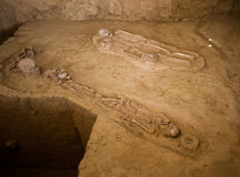 Ban Kao neolithic burial site. In Kanchanaburi, Thailand displays skeletons pots and axes Royalty Free Stock Photos