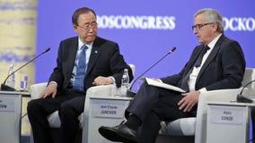 Ban Ki-moon och Jean-Claude Juncker arkivfilmer