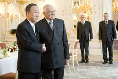 Ban Ki-moon and Václav Klaus Stock Photos
