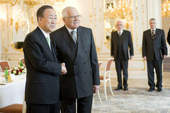 Ban Ki-moon and Václav Klaus Stock Photos