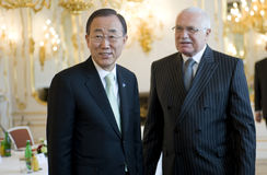 Ban Ki-moon and Václav Klaus Royalty Free Stock Photos