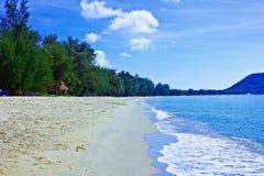 Ban krut beach  prachuap khiri khan thaiiand. A beach is beautiful,   a sea green water,   the sky is blue,             a cloud  white Royalty Free Stock Photos