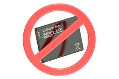 Ban of lition-ion battery concept Stock Photos