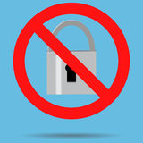 Ban lock padlock sign icon Stock Photos