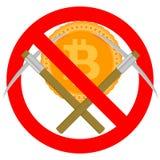 Ban mining and forbidden bitcoin symbol. Ban mining and forbidden bitcoin, not crypto currency, vector illustration Stock Photos