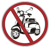 Ban with moped. Red road ban with black and white moped Stock Photo