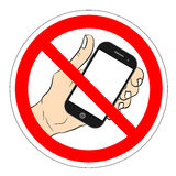 Ban phone, no mobile cell phone, warning sign ban phone, icon ban mobile phone vector illustration. Royalty Free Stock Photo