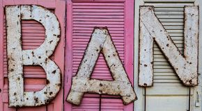 BAN phrase on. BAN phrase on doors Stock Image