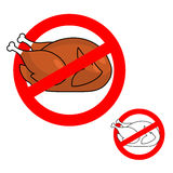 Ban roasted chicken. Prohibited fried food. Red prohibition sign Royalty Free Stock Images