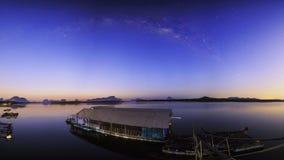 Ban Sam Chong Tai Takua Thung District, Thailand. This morning sky in Fishing village Stock Image