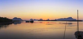 Ban Sam Chong Tai Takua Thung District, Thailand. This morning sky in Fishing village Stock Photo