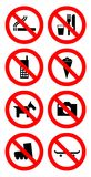 Ban sign. Set of eight ban signs. Vector available Royalty Free Stock Image