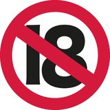 18 ban sign - 19th birthday. Vector Stock Image