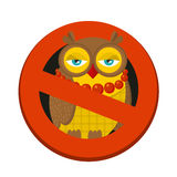 Ban sign to hipster owl. Stock Photo