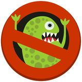 Ban sign to virus aggression. Vector illustration Stock Image