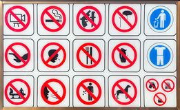 Ban signs in Angkor Thom Stock Photos