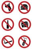 Ban signs on dogs, smoking, food, drinking, camera Stock Photo