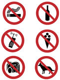 Ban signs on dogs, smoking, food, drinking, camera Stock Photography