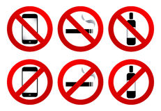 Ban signs: no cell, no smoke, no drink. Vector symbol of ban signs Royalty Free Stock Image