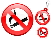 Ban on smoking sign collection Stock Photography