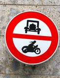 Ban transit signal in all motor vehicles and cars motorcycles Royalty Free Stock Photo