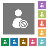 Ban user square flat icons Royalty Free Stock Photography