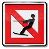 Ban for water ski and water-skiing. Navigational marks ban for water ski and water-skiing Stock Photos