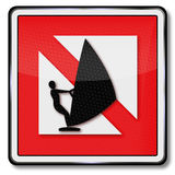 Ban for windsurfing. Navigational mark ban for windsurfing Royalty Free Stock Image