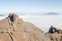 Bana överst av den vulkaniska ön av La Palma Arkivbild