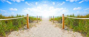 Bana av sand som går till stranden och havet i Miami Beach Florida royaltyfri bild