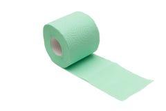 Bana av unrolled grönt toalettpapper Arkivbild