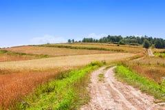 Bana, fält och himmel royaltyfria bilder