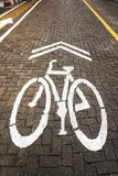 Bana för cykel med den vita cykelgränden Fotografering för Bildbyråer