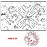 Bana för hjälpdinosauriefynd som bygga bo labyrinten Mazelek för ungar Färga sidan Arkivfoton