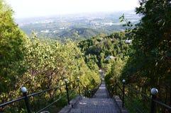 Bana för trädgård för berglandskapkines Arkivfoto