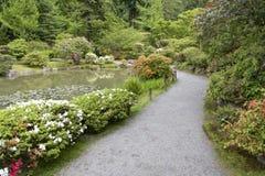 Bana i japanträdgård Arkivfoto
