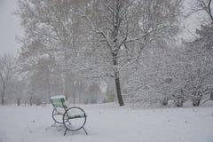 Bana i parkera med snö Arkivbild