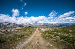 Bana i Schweiz fjällängar Fotografering för Bildbyråer