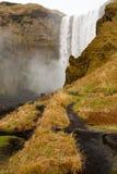 Bana i skogafossvattenfall Royaltyfri Foto