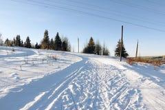 Bana i snowen Fotografering för Bildbyråer
