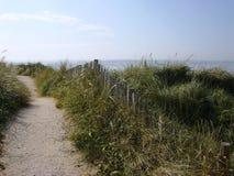 Bana med staketet och seagrass som leder till stranden Royaltyfria Bilder
