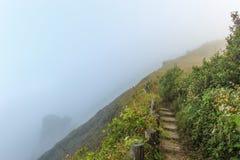 Bana på flank av kullen på berg som täckte vid dimma arkivfoton