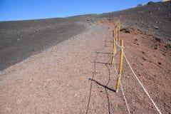 Bana runt om den Mount Etna krater Royaltyfri Fotografi