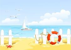 Bana till stranden till och med staketet royaltyfri illustrationer