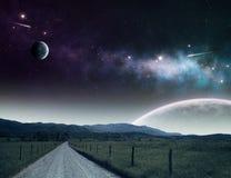 bana till universum Arkivbild