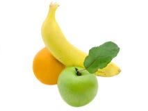 Banaan, appel en sinaasappel Stock Afbeeldingen